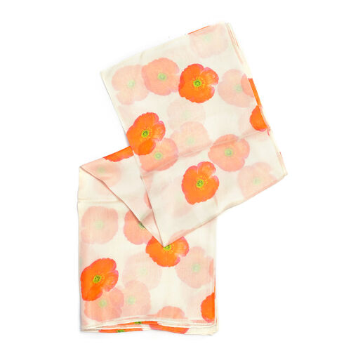 TJC Poppy Collection -100% Mulberry Silk Red Poppy Flower Pattern Cream Colour Scarf (Size 180X100 Cm)