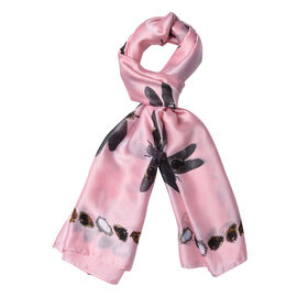 Pink Colour Gems and Dragonfly Pattern Scarf (Size 90x180 Cm)