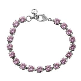 One Time Deal - Simulated Pink Colour Diamond Tennis Bracelet (Size 7.5)