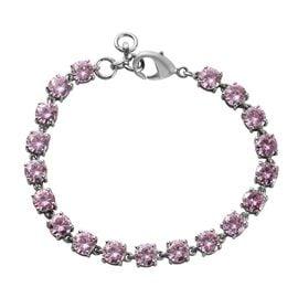 Super Find- Simulated Pink Sapphire Line Bracelet (Size 7.5) in Platinum Tone