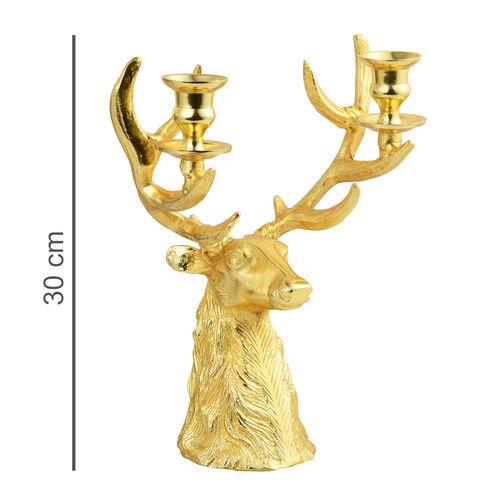 Home Decor - Designer Inspired - Antique Look ReinDeer Head Candelabra in Gold Tone
