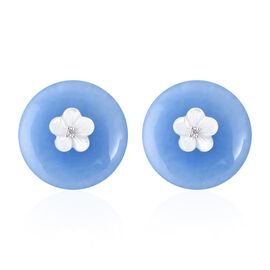 Carved Blue Jade, White Mother of Pearl and Natural White Cambodian Zircon Earrings (with Push Back)