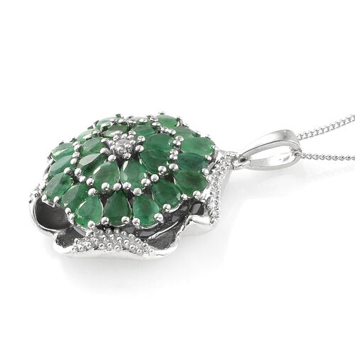 Designer Inspired- Kagem Zambian Emerald (Pear), Natural Cambodian Zircon Pendant With Chain in Platinum Overlay Sterling Silver 3.000 Ct. Silver wt 7.74 Gms.