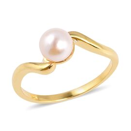 Japanese Akoya Pearl (Rnd 6.5-7 mm) Solitaire Ring in Yellow Gold Overlay Sterling Silver
