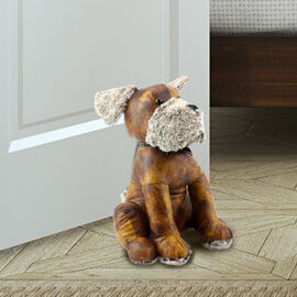 Lesser & Pavey - Faux Leather Dog Doorstop in Brown (Size 32x18x13 Cm)
