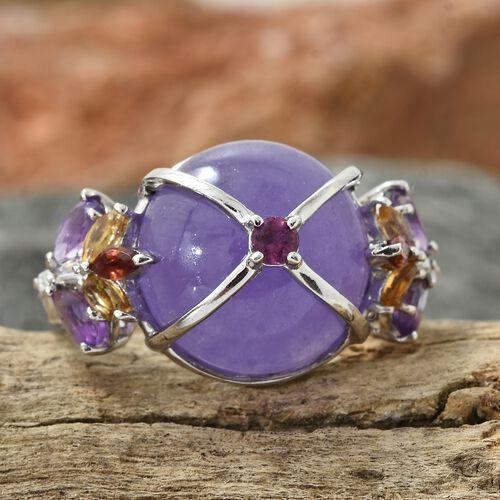 Purple Jade (Rnd), Amethyst, Rhodolite Garnet and Multi Gemstone Ring in Platinum Overlay Sterling Silver 14.500 Ct. Silver wt 6.50 Gms.