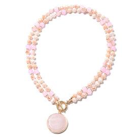 Rose Quartz (Rnd), Simulated Multi Colour Gemstone Double Row Beads Necklace (Size 36)