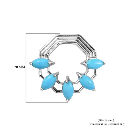 Arizona Sleeping Beauty Turquoise Earrings (with Push Back) in Platinum Overlay Sterling Silver 3.00 Ct.