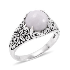 Royal Bali Collection - White Jade (Rnd) Filigree Ring in Sterling Silver 4.930 Ct
