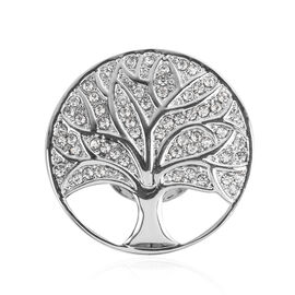 Tree of Life Design White Austrian Crystal Magnetic Brooch