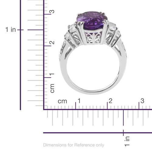Lusaka Amethyst (Ovl), White Topaz Ring in Platinum Overlay Sterling Silver 6.250 Ct.