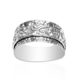 Thai Sterling Silver Floral Band Ring, Silver wt 3.91 Gms.