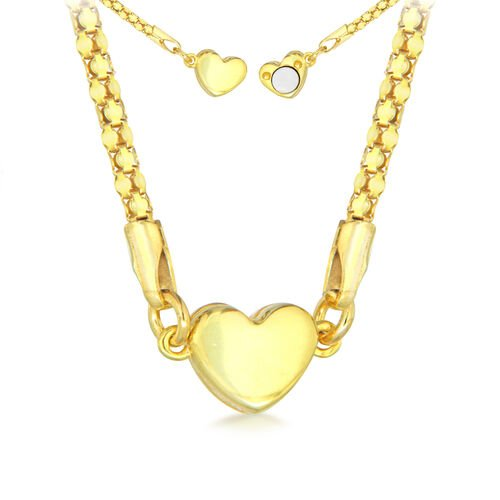 Yellow Gold Overlay Sterling Silver Magnetic Heart Popcorn Necklace (Size 17)
