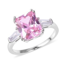 ELANZA Simulated Pink Sapphire (Oct), Simulated Diamond Ring (Size Q) in Rhodium Overlay Sterling Silver
