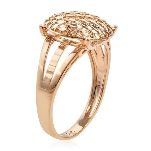 Royal Bali Collection 9K Yellow Gold Diamond Cut Pebble Checker Pattern Ring Gold wt 2.30 Gms.