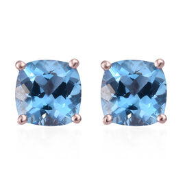 Blue Topaz (Cush) Stud Earrings (with Push Back) in Rose Gold Overlay Sterling Silver 3.500 Ct.