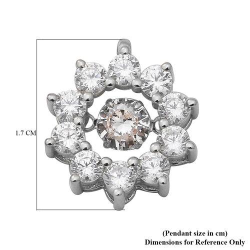 ELANZA Simulated Diamond Pendant in Rhodium Overlay Sterling Silver