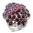 Rose De France Amethyst (Pear), Multi Gemstone Ring (Size N) in Rhodium Overlay Sterling Silver 13.149 Ct.