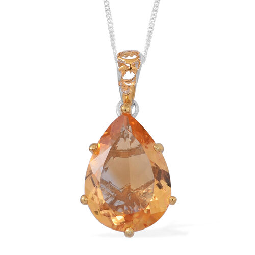 Uruguayan Citrine (Pear 18x13 MM) Pendant With Chain (Size 18) in Rhodium and Gold Overlay Sterling Silver 10.000 Ct.