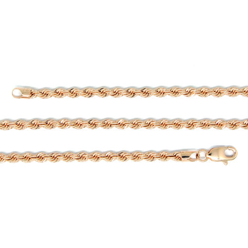9K Rose Gold Diamond Cut Rope Necklace (Size 30), Gold wt 6.00 Gms.