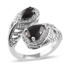1.58 Ct Elite Shungite and Zircon Peacock Ring in Platinum Plated Sterling Silver