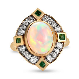 Ethiopian Welo Opal, Emerald and Natural Cambodian Zircon Ring in 14K Gold Overlay Sterling Silver 2