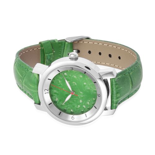 EON 1962 Swiss Movement Green Jade Dial 3ATM Water Resistent Watch with Genuine Leather Strap 25.000 Ct.