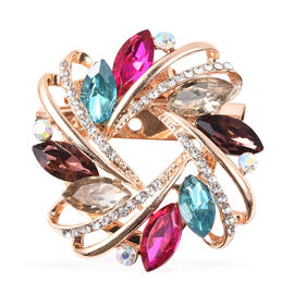 Simulated Mystic White Crystal, White Austrian Crystal and Simulated Multi Colour Gemstone Brooch in