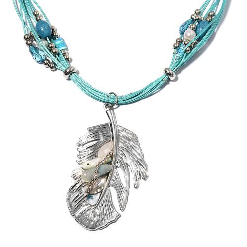 Blue Shell, Simulated Pearl, Blue Quartzite, Austrian White Crystal and Simulated Diamond Feather Necklace (Size 22) in Silver Bond.