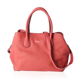 SENCILLEZ Super Soft 100% Genuine Leather Cherry Colour Tote Bag with External Zipper Pocket and Rem