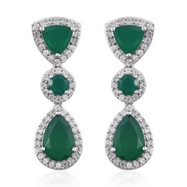 11 Carat Verde Onyx and Cambodian Zircon Drop Earrings in Platinum Plated Sterling Silver 5 Grams