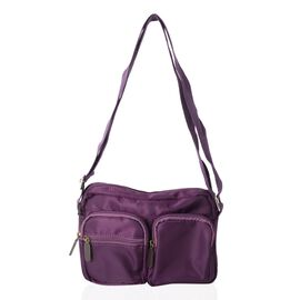 Annabelle Water Resistat Rich Purple Cross Body Bag with External Zipper Pockets (Size 22x17x7 Cm)