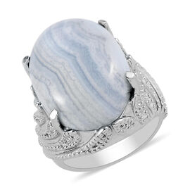 Blue Lace Agate Solitaire Ring in Stainless Steel 13.00 Ct.