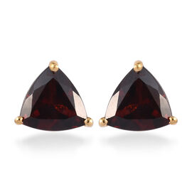 Mozambique Garnet Stud Earrings (with Push Back) in 14K Gold Overlay Sterling Silver 2.50 Ct.