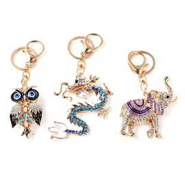 Set of 3 Multicolour Austrian Crystal (Rnd), Simulated Multicolour Cats Eye Owl, Dragon and Elephant