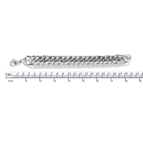Silver Plated Stainless Steel Curb Link Bracelet (Size 8.5)