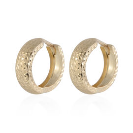 Black Friday Preview - Italian Made 9K Yellow Gold Diamond Cut Hoop Earrings