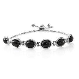 Boi Ploi Black Spinel (Ovl) Adjustable Bracelet (Size 6.5 - 9) in Stainless Steel 9.000 Ct.