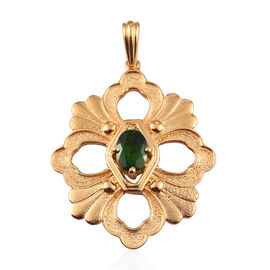 GP Russian Diopside and Blue Sapphire Pendant in 14K Gold Overlay Sterling Silver