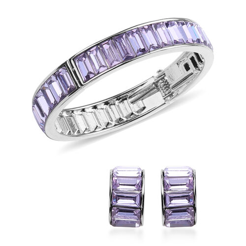 2 Piece Set - Simulated Amethyst Eternity Bangle (Size 7.5) and Earrings (with Push Back) in Gold To