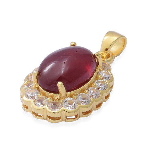 African Ruby and Natural Cambodian Zircon Pendant in Yellow Gold Overlay Sterling Silver 14.51 Ct, Silver wt. 5.06 Gms