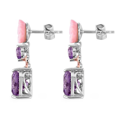 Brazilian Pink Amethyst (4.43 Ct),Pink Mother of Pearl,Swiss Blue Topaz Sterling Silver Earring  7.025  Ct.