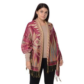 Rose Red and Gold Colour Floral Pattern Winter Scarf (Size 68x170x7.6 Cm)