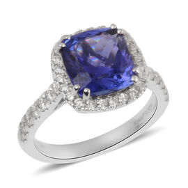 RHAPSODY 950 Platinum AAAA Tanzanite and Diamond (VS/E-F) Ring 4.85 Ct, Platinum wt 6.57 Gms