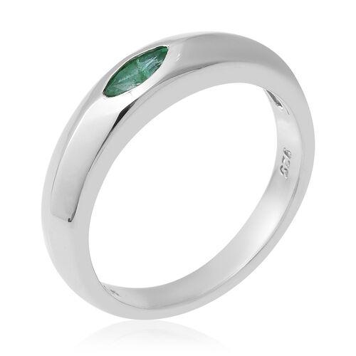 Kagem Zambian Emerald (Mrq) Band Ring in Sterling Silver