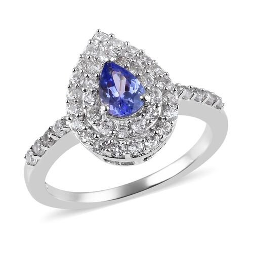 0.96 Ct AA Tanzanite and Zircon Halo Ring in Platinum Plated Sterling Silver