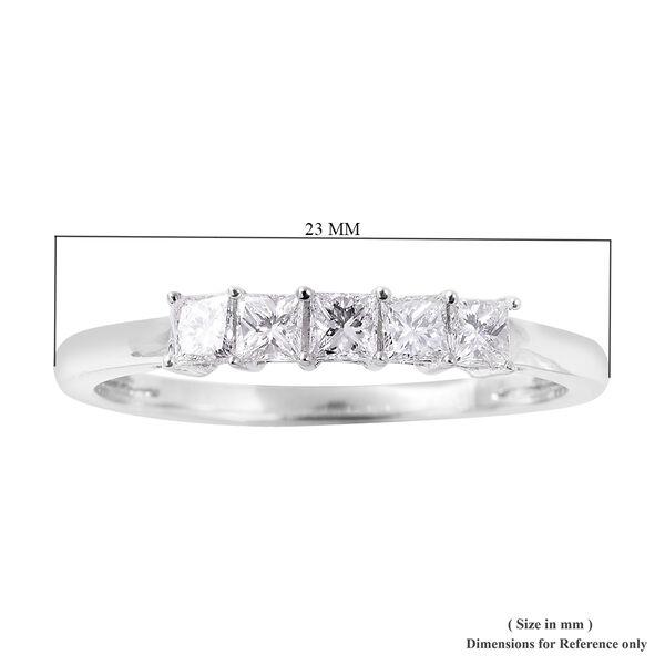 RHAPSODY 950 Platinum IGI Certified Diamond (Sqr) ( VS/E-F) Five Stone Ring 0.50 Ct.