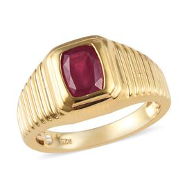 African Ruby (Cush 8x6mm) Ring in 14K Gold Overlay Sterling Silver 2.25 Ct, Silver wt 5.65 Gms