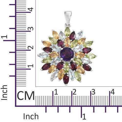 Amethyst (Rnd), Rhodolite Garnet and Multi Gemstone Pendant in Platinum Overlay Sterling Silver 10.000 Ct. Silver wt 5.96 Gms.