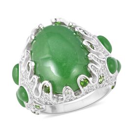25.40 Ct Green Jade and Multi Gemstone Ring in Rhodium Plated Sterling Silver 8.7 Grams